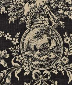 Waverly Country House Toile Black Fabric