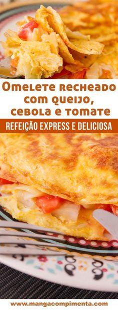 Omelete recheado com Queijo, Cebola e Tomate - Almoço express para quem não tem tempo!