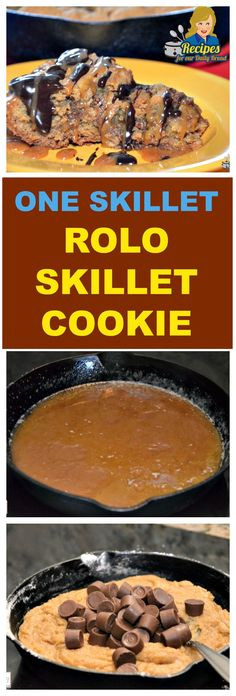 "HOW TO MAKE AN EASY ONE SKILLET ROLO SKILLET COOKIE This Easy Rolo Skillet Cookie is mixed and baked all in the same skillet. It is a real ""one skillet"" recipe. SEE FULL RECIPE HERE: http://recipesforourdailybread.com/easy-rolo-skillet-cookie/"