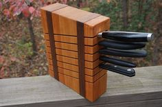 Cherry and Walnut Knife Block