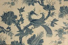 Antique French 19th century curtain toile 18th century design blue Indienne   Inspired by hand blocked Indigo blue resist ~  www.textiletrunk.com