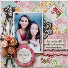 "What a great way to use printed paper ""scraps"" to create a beautiful background!  Love this layout!"