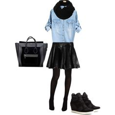 <3 faux lether dress with chambray (denim) shirt, sneaker wedges celine bag. LOOOVE!! <3