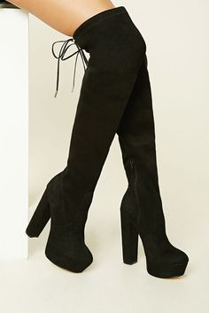 pair of over-the-knee faux suede boots from LFL by Lust For Life™ featuring a platform, round toe, zipper side, block heel, and a faux leather drawstring top. Teen Fashion Outfits, Fashion Boots, Latex Fashion, Snow Fashion, Jugend Mode Outfits, Aesthetic Shoes, Cute Boots, Pretty Shoes, Dream Shoes