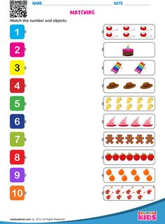 Kids will be able to count the objects and match them to the correct number.Help kids in identifying and counting numbers easily. Counting Worksheets For Kindergarten, Fun Worksheets For Kids, Printable Preschool Worksheets, Preschool Learning Activities, Preschool Math, Math For Kids, Letter Worksheets, Numbers Preschool, Numbers For Kids