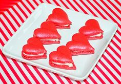 Heart Macaron Cookies at a Valentine's Day Party Valentines Day Photos, Valentines Day Party, Valentine Crafts, Be My Valentine, Red Macarons, Macaron Cookies, Macaroons, Heart Cakes, Whoopie Pies