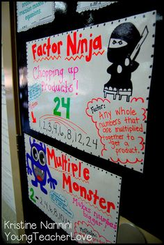 Factors and Multiples anchor charts to help students remember the difference between these two concepts.