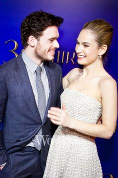 Lily James and Richard Madden at the 'Cinderella' Premiere in Moscow on February 16, 2015.