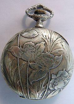 Mint Silver Antique Art Nouveau Pocket Watch Floral - circa 1900