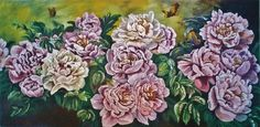 """SIZE: 71cm x 51cm x 2.5cm /28""""x20"""" Acrylic on canvas. Acrylic and painting of natural landscape Peony.  SIGNED: Artist Signed on the front; Signed and Dated on the back."""