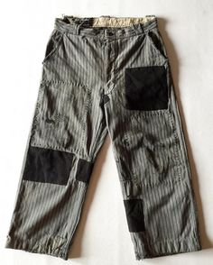 """""""SASAKI-JIRUSHI"""" French antique patched Farmer's pants Patched by us From:France,early 20th century Material:Cotton Patched:Linen Color:Stripe,black and gray Size:Small and short #Frenchwork #Frenchantique #Frenchvintage #workwear #workpants #chorepants #sashiko #patchwork #patched #darning #etsy #etsyvintage #sasakijirushi #sasakiyohinten"""