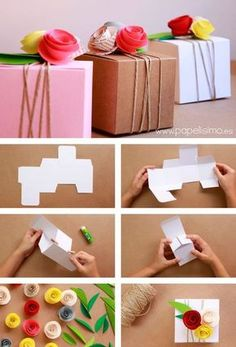 Paper Flower Gift Box for Wedding gifts & favours Paper Gift Box, Diy Gift Box, Diy Box, Diy Gifts, Gift Tags, Diy Arts And Crafts, Diy Craft Projects, Paper Crafts, Wedding Gift Boxes