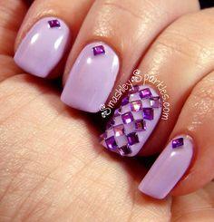 Purple w/ Rhinestone Nail Art Opi Pink, Purple Nails, Glitter Toes, Glitter Nail Art, Gel Nails, Acrylic Nails, Nail Polish, Acrylics, Fancy Nails