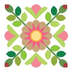 Sycamore Rose Block 14. Barn quilt inspiration.