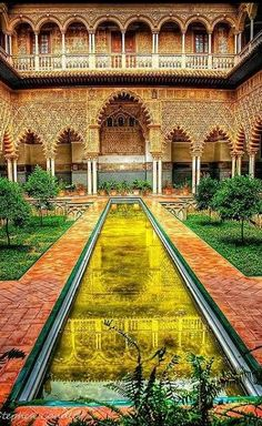 """The Courtyard of the Maidens  UNESCO World Heritage Site, 1987  """"Royal Alcazars of Seville"""" is a royal palace in Seville, Spain, originally a Moorish fort. It is the oldest royal palace still in use in Europe. It was registered in 1987 by UNESCO as a World Heritage Site, along with the Seville Cathedral and the General Archive of the Indies."""