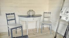 Old furniture painted with smoky blue and driftwood shade white