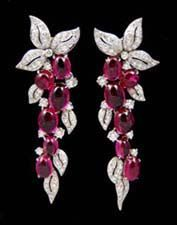 Cabochon Rubelite and Diamond Earrings Set in Platinum. Antique & Signed Jewelry Earrings - Yafa Jewelry