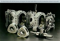 Wankel Rotary Engine. Basically it has 3 moving parts; one eccentric shaft and two rotors.