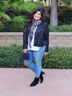 f57d19fa5178 Curvy Girl Chic Plus Size Fashion BLog Gap Leather Moto Jacket and Jeans  Easy Daily Outfit