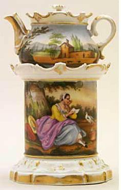 Teapot #385  Rococo style, white and gold bottom of scalloped stand, also top of stand and pot, painting on stand, girl reading letter, dove of peace near by, house and trees painting on pot.  Acquired in Paris