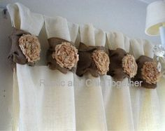 Items similar to Burlap wide ruched tabs curtain- tea dyed rosette- off white burlap on Etsy Ruffle Curtains, Tab Curtains, Drop Cloth Curtains, Burlap Curtains, White Curtains, Hanging Curtains, Roman Curtains, Patterned Curtains, Layered Curtains