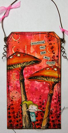 Love the mushrooms.  www.thekathrynwheel.blogspot.com  Stamps by Stampotique Originals  Inks by Dylusions at www.afth.co.uk  Made for the Stampotique Designers Challenge.