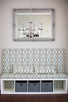 Classy DIY banquette by an IKEA fan using EXPEDIT shelving unit and KASSETT boxes!