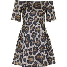TOPSHOP Leopard Jacquard Bardot Dress ($75) ❤ liked on Polyvore featuring dresses, topshop, vestido, multi, animal print dress, topshop dresses, zipper dress, women dresses and animal print cocktail dress