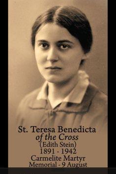 Edith Stein; luego Santa Teresa de la Cruz.