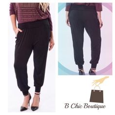 """❗️1 DAY SALE❗️Plus Size Tapered Harem Pants Tapered Harem Pants with fold over waist. Made of soft rayon/ spandex blend. This is a wardrobe essential   XL: waist 34""""-42"""" / hips 50""""-60""""/ waist to hem 37.5"""" 1X: waist 36""""-44"""" / hips 52""""-62""""/ waist to hem 37.5"""" 2X: waist 38""""-46"""" / hips 54""""-64""""/ waist to hem 38""""   Credit: Saundie2_plus B Chic Pants Track Pants & Joggers"""