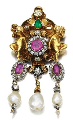 PEARL, EMERALD, RUBY AND DIAMOND BROOCH/PENDANT.  19th Century and later elements, composite, later brooch pin.
