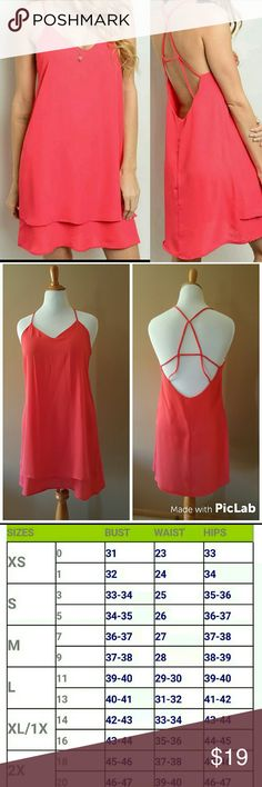 Coral Strappy Cami Dress Brand new 100% Polyester  Open style, strappy back Front is lined, back is not May be slightly sheer on back side True Light Dresses Mini