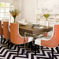 Love the rug, table, artwork, buffet