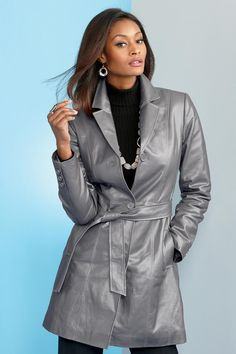 Genuine Leather Belted Coat | Metrostyle