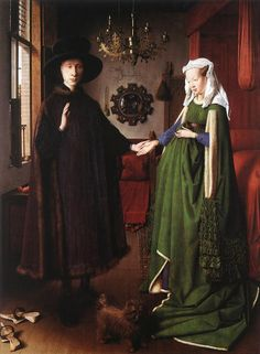 The Marriage of Giovanni Arnolfini and Giovanna Cenami' by Jan van Eyck, dated 1434. Considered to be the earliest painting depicting a Brussels Griffon.