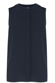 Navy tab shoulder blouse