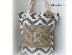 Rustic Tote bag, burlap, chevron, personalized, beach bag, bridesmaids gifts