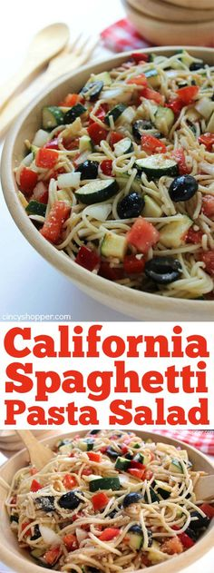 California Spaghetti Pasta Salad - Perfect summer salad loaded with zucchini, cucumbers, peppers and more!