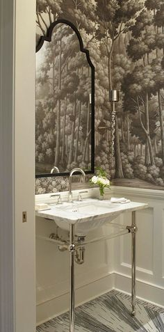 """Very Small Bathrooms That Look Grande! Sconces (""""Calais"""" #0608): Johnathan Browning Studios, 415/401-9999, jonathanbrowninginc.com. Wall covering (""""English Landscape""""/Crystal Grey, Papier Peints Panoramiques Collection): De Gournay, 917/855-4401, degournay.com."""