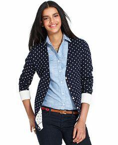 Tommy Hilfiger Long-Sleeve Polka-Dot Boyfriend Cardigan - Sweaters - Women - Macy's