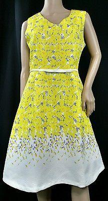 Festive Yellow & White & Purple  Sleeveless Floral Print Dress by Beulah