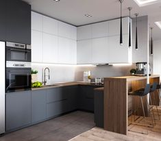 If you are looking for Minimalist Kitchen Design Ideas, You come to the right place. Below are the Minimalist Kitchen Design Ideas. Kitchen Room Design, Luxury Kitchen Design, Kitchen Cabinet Design, Living Room Kitchen, Kitchen Layout, Home Decor Kitchen, Interior Design Kitchen, Home Kitchens, New Kitchen