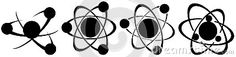 Image representing a set of atoms isolated in black tones. An idea for logos or icons.