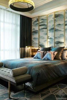 neo Chinese bedroom gold black and blue