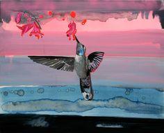 Gerda ten Thije: Hangvogel- Kolibri, 2004 acryl-, en olieverf op doek, 90 x 110 cm  collectie Akzo Nobel Art Foundation
