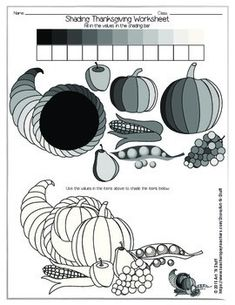 SHADING THANKSGIVING WORKSHEETThis is a great exercise for students in grades 2-6 as a precursor to any lesson on shading with a pen or pencil.  It is also a great worksheet for Thanksgiving! Introduce the shading technique of value by pressing and lightening up on the pencil.