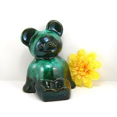 Blue Mountain Pottery Teddy Bear Coin Bank by AtticDustAntiques
