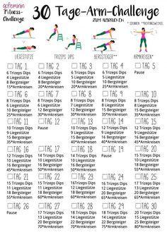 30 day arm challenge: tell the slack arms to fight .- 30 Tage Arm-Challenge: Sag den schlaffen Winkearmen den Kampf an! arm challenge: Say goodbye to the arms! 30 Day Arm Challenge, Month Workout Challenge, Workout Schedule, Workout Ideas, Fitness Herausforderungen, Health Fitness, Fitness Shirts, Personal Fitness, Abdominal Inferior