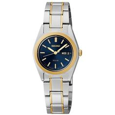 Seiko Womens Two-Tone Blue Solar Watch SUT110 ($154) ❤ liked on Polyvore featuring jewelry, watches, wrap watches, faux watches, blue watches, seiko wrist watch and blue dial watches