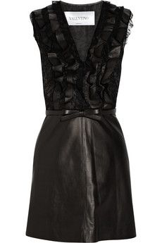 Valentino Belted leather and lace dress